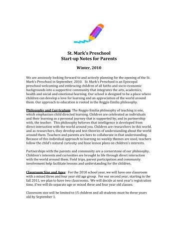 St. Mark's Preschool Start-up Notes for Parents