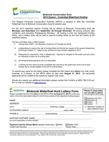 Binbrook Waterfowl Hunt Lottery Form - Niagara Peninsula ...