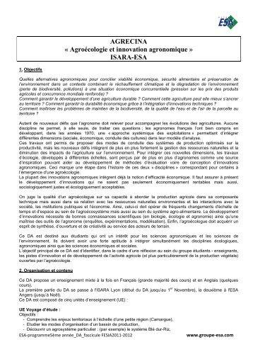AGRECINA « Agroécologie et innovation agronomique ... - Vintage