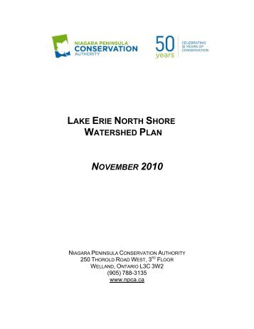 Lake Erie North Shore Watershed Plan - Niagara Peninsula ...