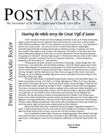 March 2010 Postmark - St. Mark's Episcopal Church