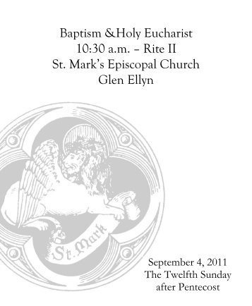 Sunday Bulletin for September 4, 2011 - St. Mark's Episcopal Church