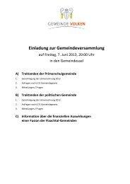 Einladung / Traktandenliste - Gemeinde Volken