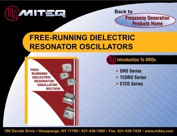 FREE-RUNNING DIELECTRIC RESONATOR OSCILLATORS - ATVA