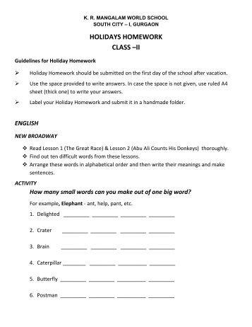 psbb school holiday homework 2017