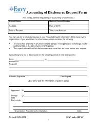 Accounting of Disclosures Request Form - Facey Medical Group