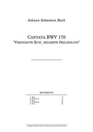 Johann Sebastian Bach CANTATA BWV 170
