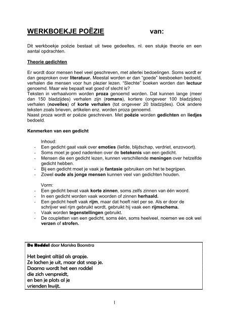 Theorie Gedichten St Jorisschool Nijmegen