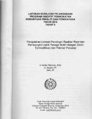 Pengolahan Limbah Pendingin Reaktor Riset dan ... - KM Ristek