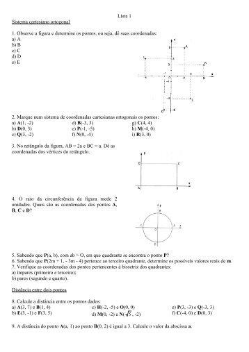 Geometria analítica - Lista de exercícios 1