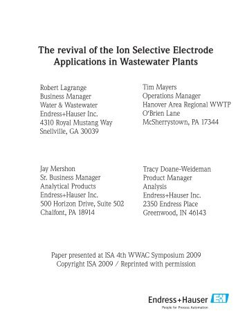 Revival of ion selective appl covers.indd - Endress+Hauser
