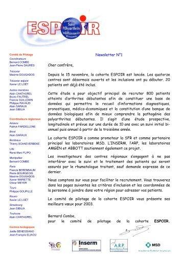 Newsletter 01 - La cohorte ESPOIR