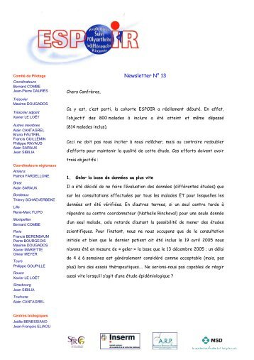 Newsletter 13 - La cohorte ESPOIR