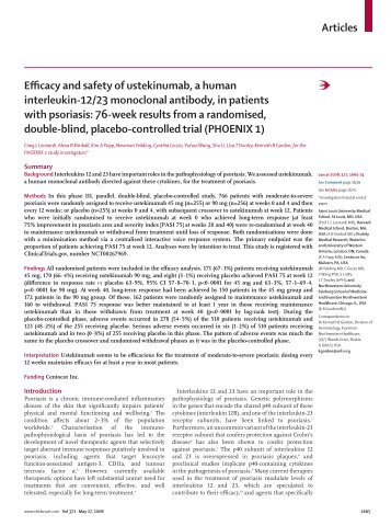 Articles Efficacy and safety of ustekinumab, a human ... - Huidarts.com