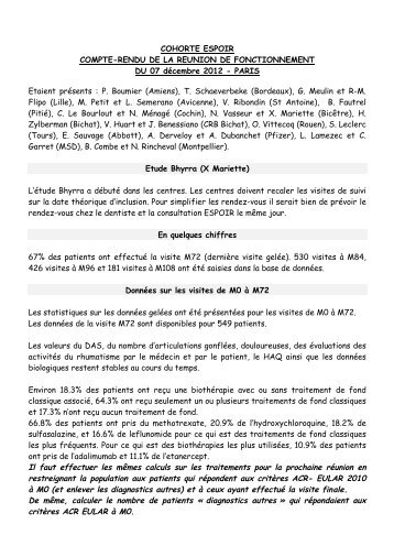 CR réunion du 07.12.12 - La cohorte ESPOIR
