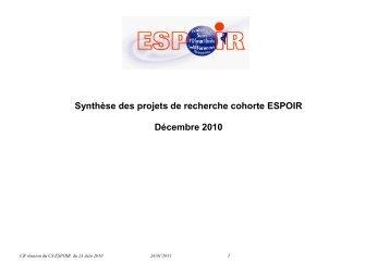 Compte-rendu du Conseil scientifique Cohorte ESPOIR - La cohorte ...