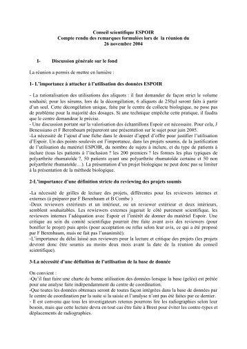 Compte rendu de la réunion ESPOIR - La cohorte ESPOIR