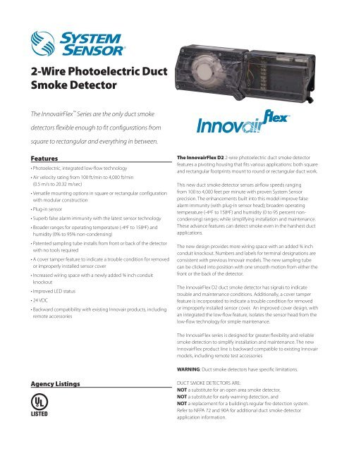 2-Wire Photoelectric Duct Smoke Detector - SmartHome-Products