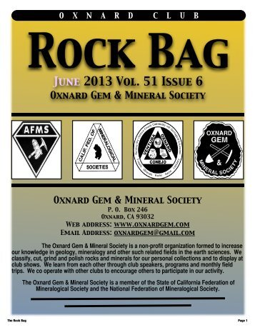 June 2013 Rock Bag Email Copy - Oxnard Gem & Mineral Society