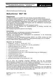 B e t r i e b s a n l e i t u n g Meßumformer MUF 100 - Ziehl industrie ...
