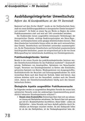 Reform des AC-Grundpraktikums an der FH ... - BuFaTa Chemie
