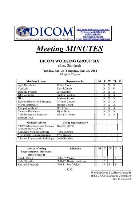 Meeting MINUTES DICOM WORKING GROUP SIX