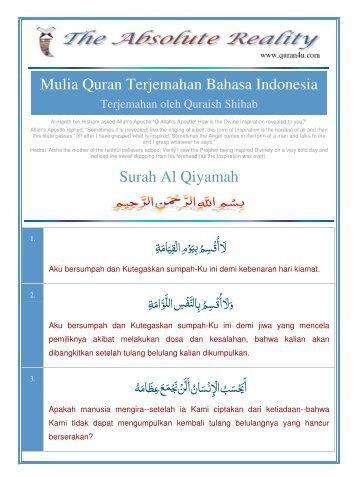 Mulia Quran Terjemahan Bahasa Indonesia Surah Al Qiyamah