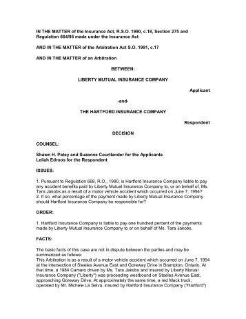 Liberty mutual insurance company v the hartford insurance