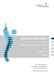 Jahresbericht 2009 - Klinik für Orthopädie und Unfallchirurgie der ...