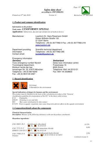 LYSOFORMIN SPEZIAL E 15.07.10.10