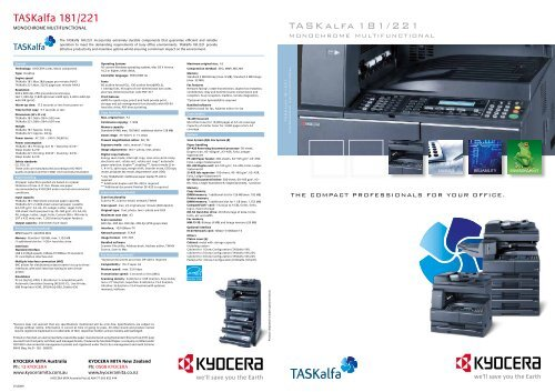 TASKalfa 181/221 TASKalfa 181/221 - KYOCERA Document Solutions