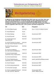 Gottesdienste zum Weltgebetstag 2011 - Evangelisches Dekanat ...