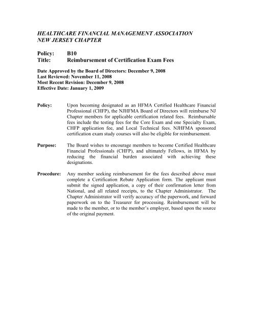 B10 Reimbursement for Certification Exam Fees - hfmanj