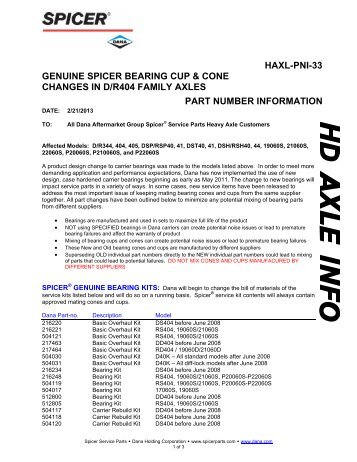 genuine spicer bearing cup & cone changes in d/r404 family axles