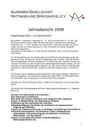 Jahresbericht 2008 - bei der Alzheimer Gesellschaft Hattingen und ...