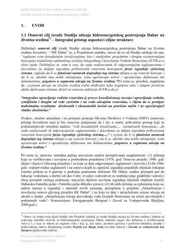 Studija o procjeni utjecaja na okoliš HE Dabar - Segment voda 07.6 ...
