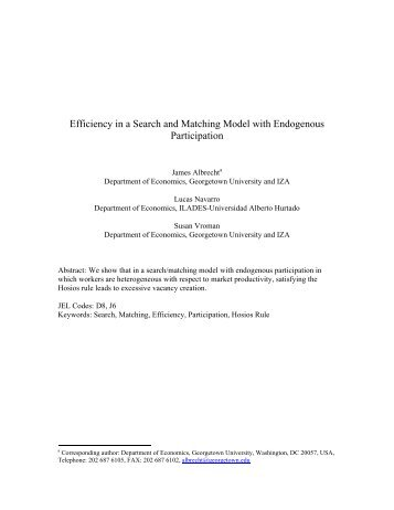 Efficiency in a Search and Matching Model with Endogenous ...