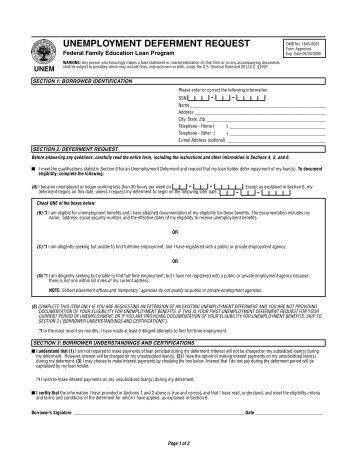 unemployment deferment request - CornerStone