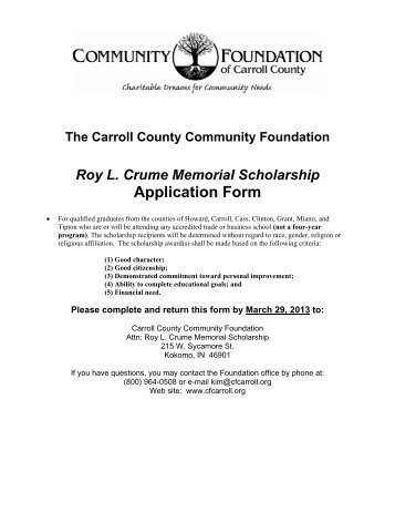 Roy L. Crume Scholarship - Carroll County Community Foundation