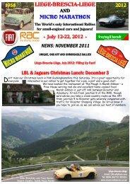November 2011 Newsletter - Liège-Brescia-Liège
