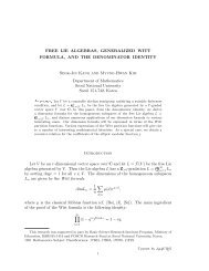 FREE LIE ALGEBRAS, GENERALIZED WITT FORMULA, AND THE ...