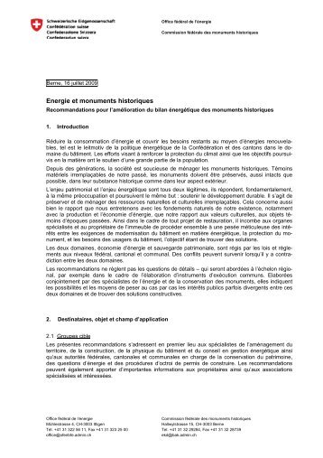 """Recommandations """"Energie et monuments historiques"""" - CH"""