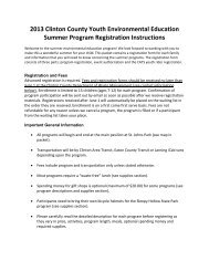 Information and Registration 2013 - Clinton County