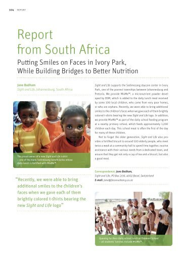 Report from South Africa: Putting Smiles on Faces in ... - Sight and Life