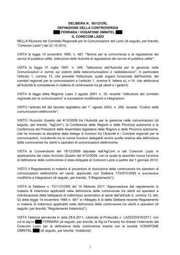 Delibera 50/12/CRL - Corecom