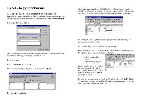 Excel - begynderkursus - dirac