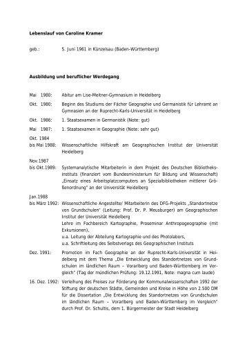 lebenslauf von caroline kramer geographisches institut uni - Andreas Steinhfel Lebenslauf