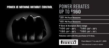 POWER REBATEs UP TO $160