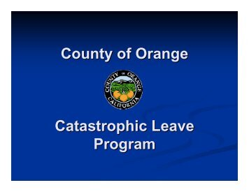 County of Orange Catastrophic Leave Program - OC Public Libraries