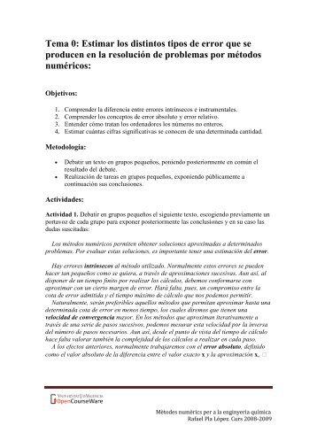 Tema 0: Estimar los distintos tipos de error que se producen en la ...